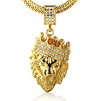 """Halukakah Kings Landing Men's 18k Real Gold Plated Crown Lion Pendant Necklace Artificial Diamonds Set with Free Fishtail Chain 30"""""""