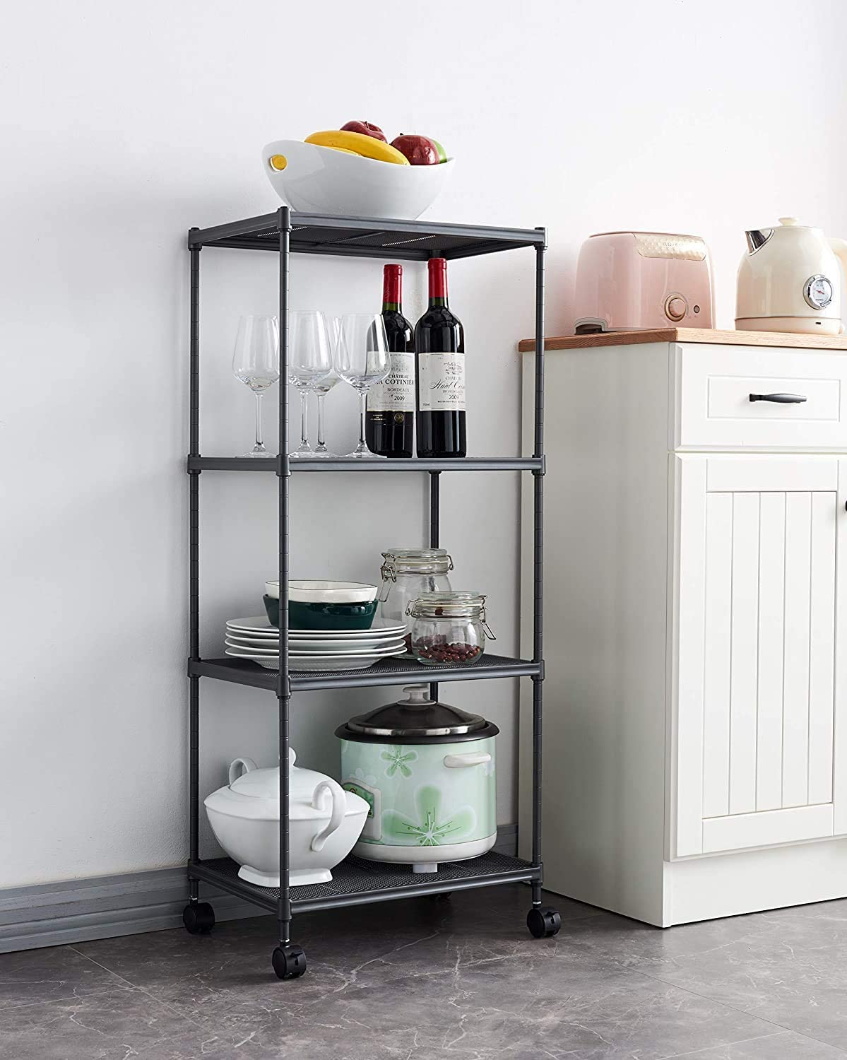 Commercial Grade Heavy Duty Utility Sturdy Organizer Rack for Home Kitchen Restaurant Office Dormitory Garage Mini Storage Shelves Gray Small Metal Shelf Wire Shelving Unit with Wheels