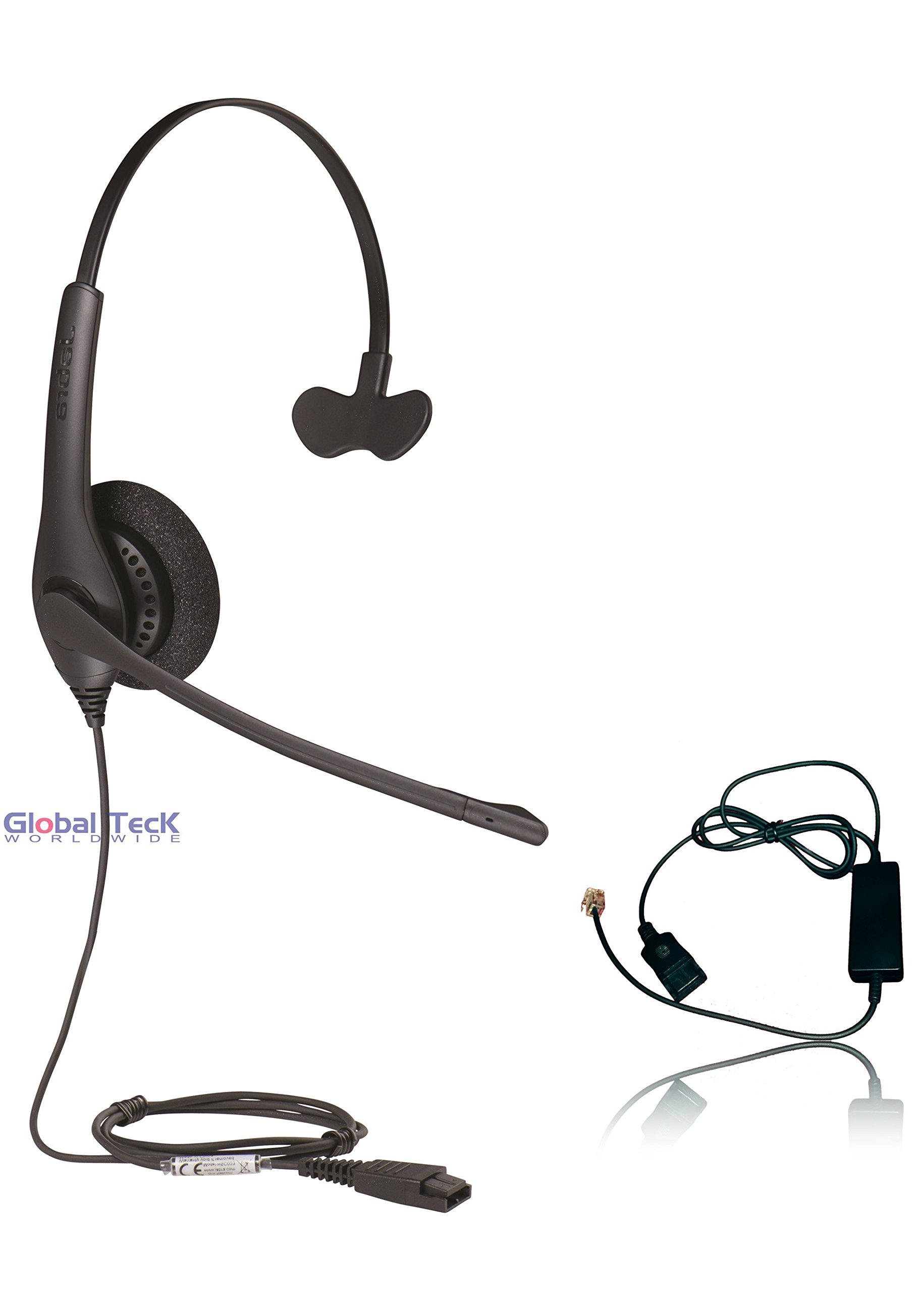 Polycom Compatible Jabra BIZ 1520 Direct Connect Headset with Smart cord | SoundPoint Phones: IP450, IP50's, IP601, IP650, IP670, VVX300's, VVX400's, VVX500, VVX600, VVX1500, CX300, CX600 by Global Teck