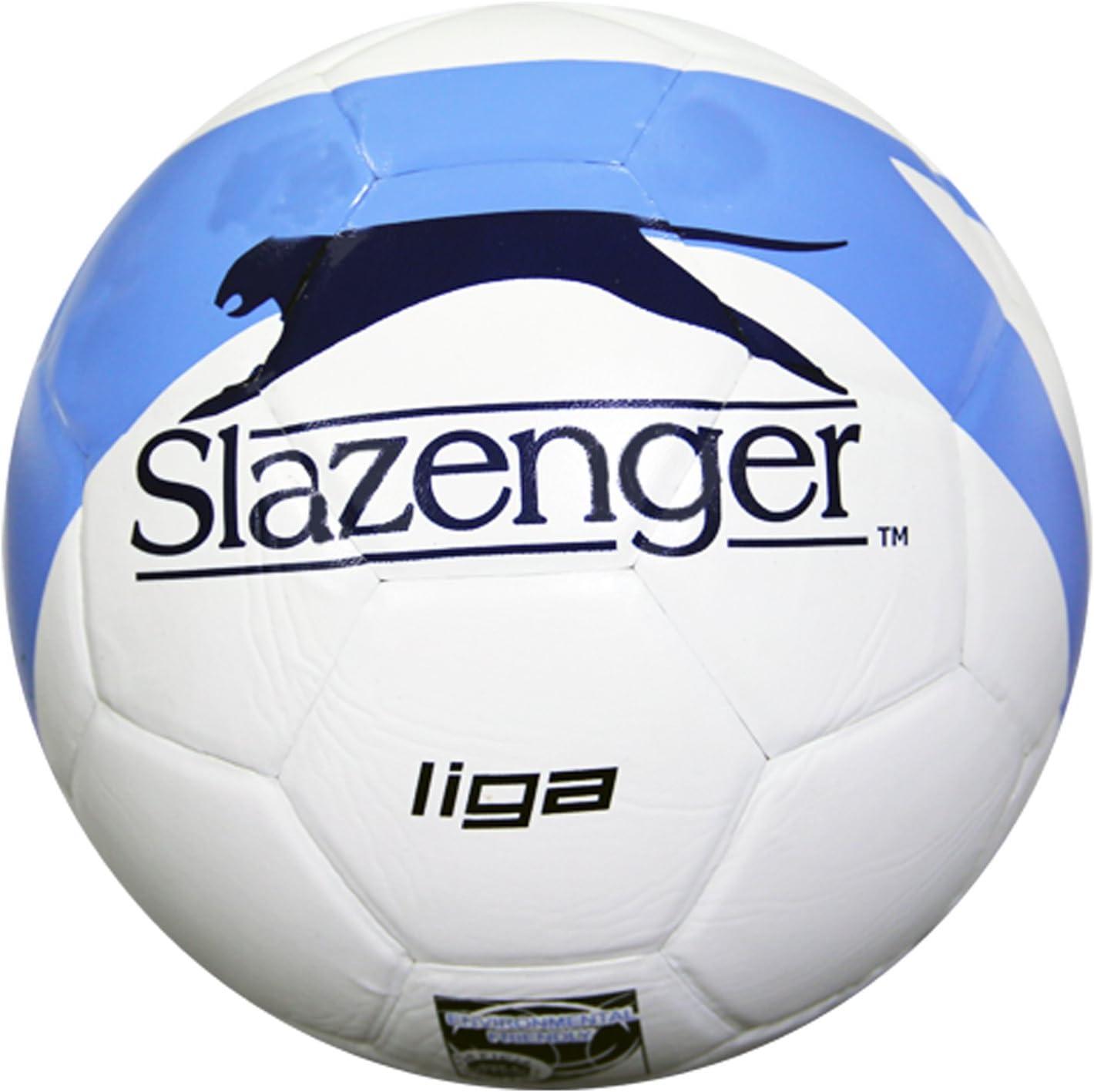 Slazenger Liga - Balón de fútbol (PVC, Piel, tamaño 5), Color Blanco y Azul Marino: Amazon.es: Deportes y aire libre