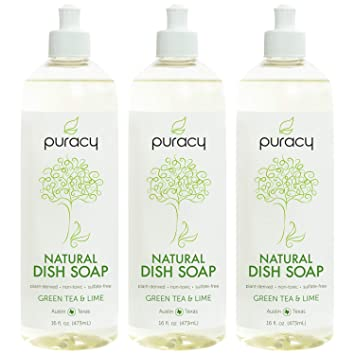 Amazon com: Puracy Natural Liquid Dish Soap, Sulfate-Free Detergent