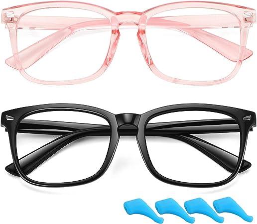 black Children PC Soft Frame Transparent Computer Glasses Clear Lens Kids Eyewear Blue Light Blocking Glasse