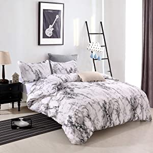 YMY Lightweight Microfiber Bedding Duvet Cover Set, Marble Pattern (White Marble, Queen)