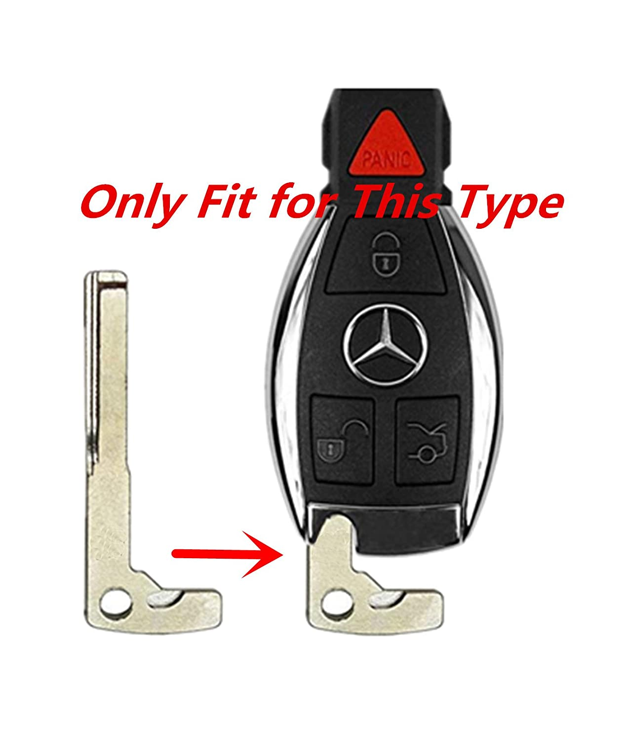 KAWIHEN Uncut Transponder Ignition Key Blank Keyless Remote Key Fob Replacement for Mercedes Benz 4 Buttons IYZ3312