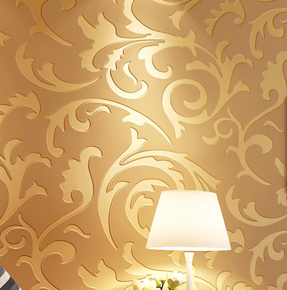 Luxton Acanthus Scroll Wallpaper, Textured Victorian Damask Wallpaper, Home Decor Renovation Wallpaper for TV Background Living Room Bedroom, (Unpasted), 20.8 inch x 32.8 feet, Gold Color, 1 Roll Pack