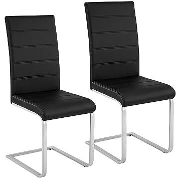 TecTake Esszimmerstühle Schwingstuhl Set   Kunstleder - Diverse Farben - (2er Set schwarz   Nr. 402549)