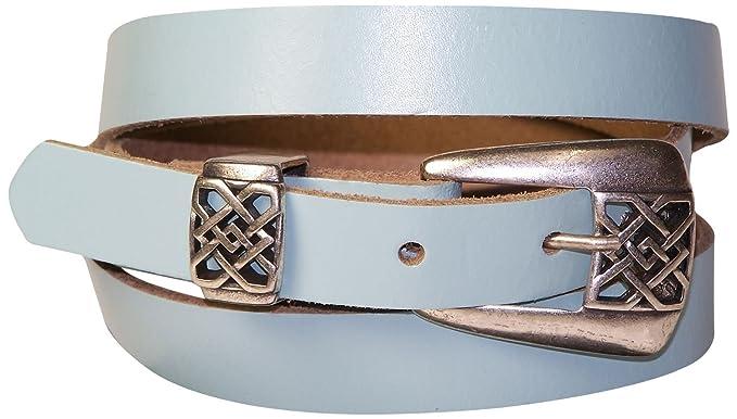 e5aca6bbd58 Fronhofer Fine ceinture pour femme 2 cm boucle à arabesques couleur argent  vieilli