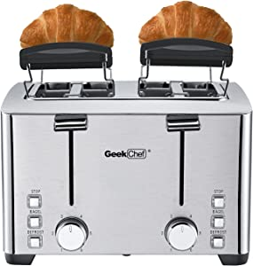 4 Slice toaster, Geek Chef 4 Extra Wide Slots, Best Rated Prime Retro Bagel Toaster with 6 Bread Shade Settings Warming Rack, Defrost/Bagel/Cancel Function, Removable Crumb Tray, Stainless Steel Toaster, 1500W