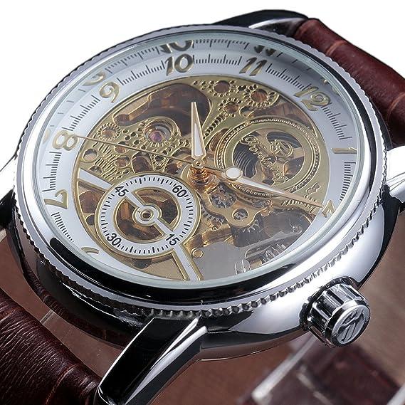 Forsining Hombres de oro hueco esqueleto números rabic Auto mecánico reloj de pulsera banda de cuero