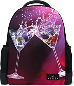Martini Drinks Print Laptop Backpack High School Bookbag Casual Travel Daypack