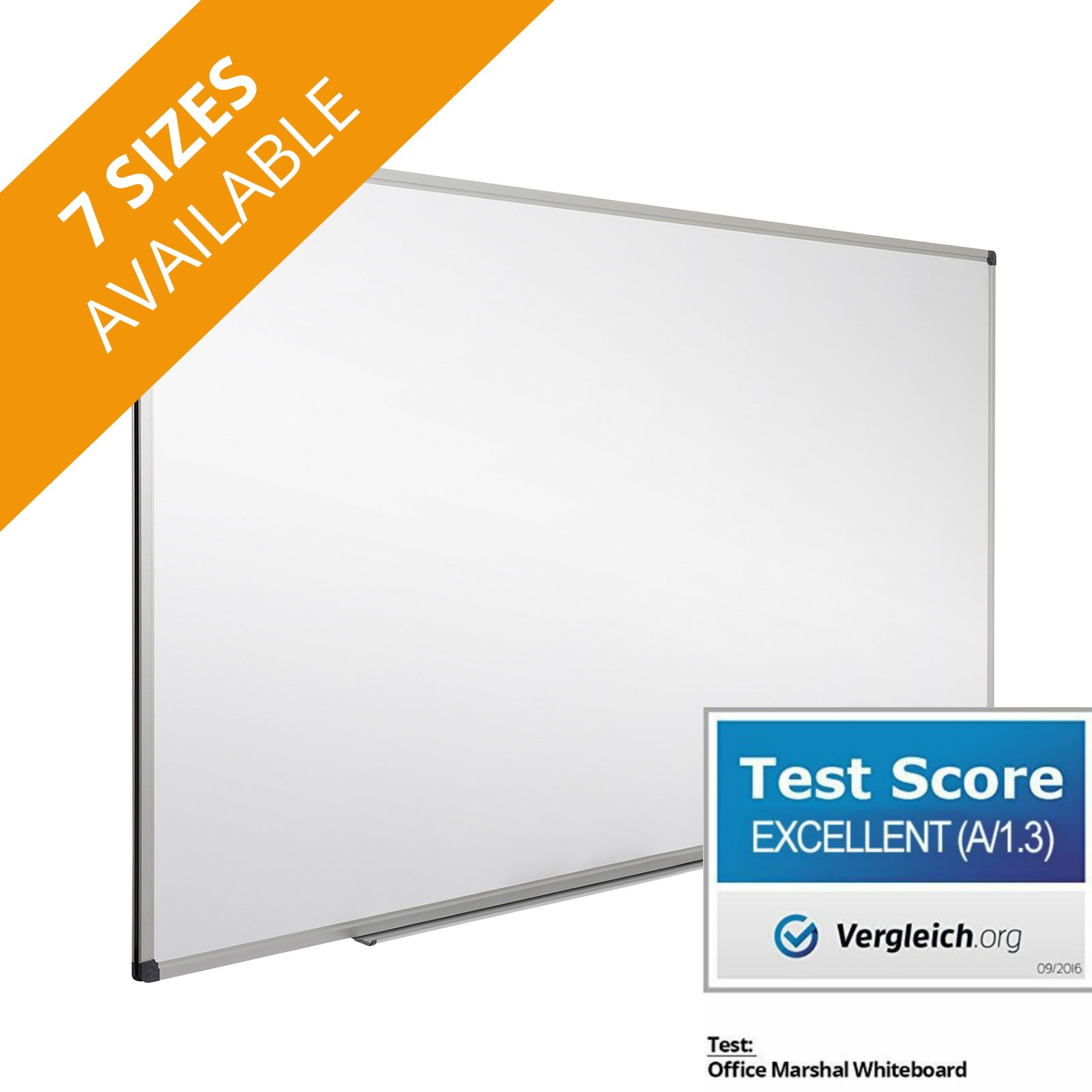 Office Marshal® Professional Magnetic Dry Erase Board | Whiteboard - 36'' x 24'' - Aluminium Frame & Removable Marker Tray