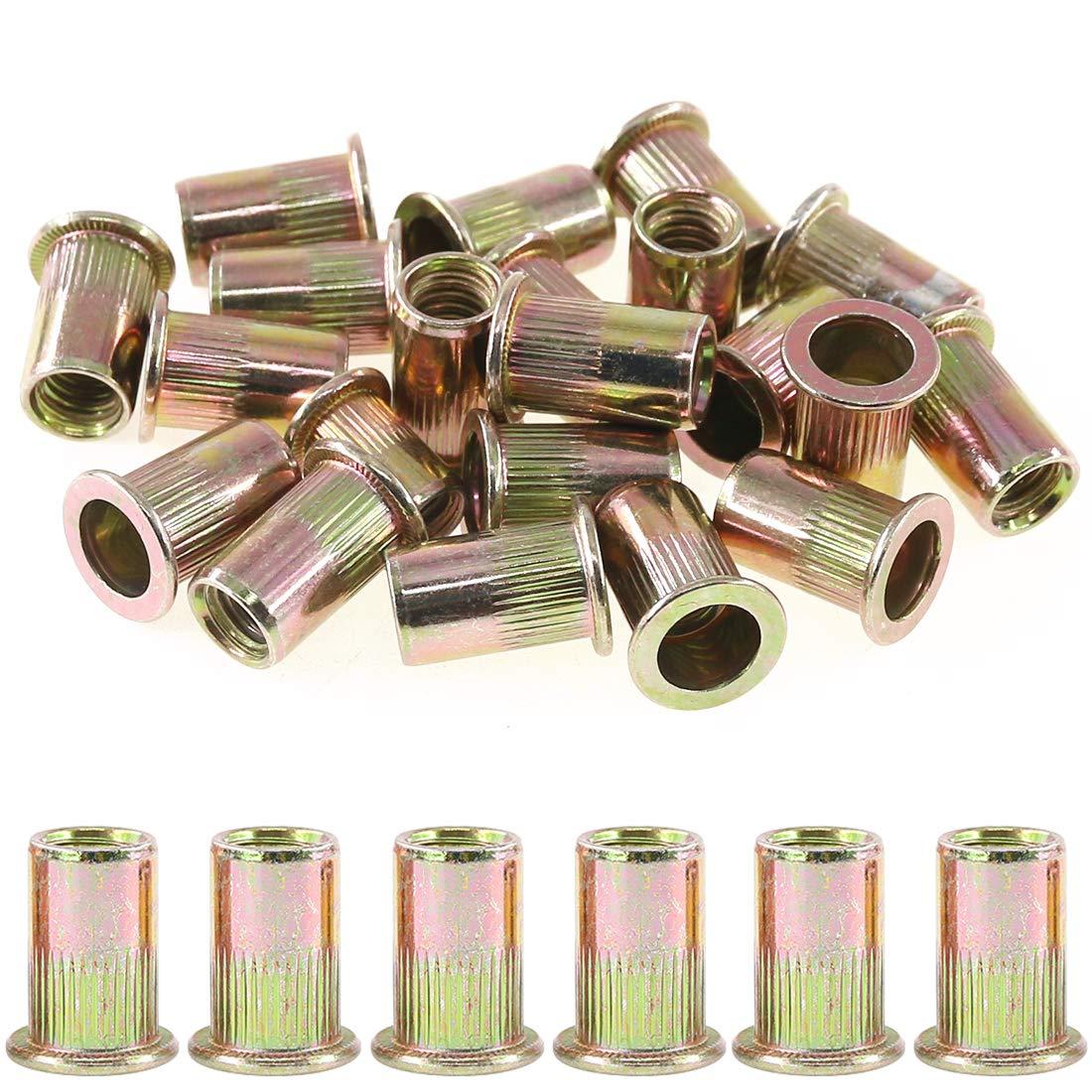 B07GT3M6YV Rustark 100-Pcs 5/16''-18UNC Mixed Zinc Plated Carbon Steel Rivet Nut Flat Head Insert Nutsert Assortment Kit 71yBr4Dv7tL