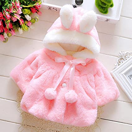 Gotd Newborn Baby Girls Autumn Winter Hooded Coat Cloak Jacket Thick Warm Clothes (6-12 Months, Watermelon Red)