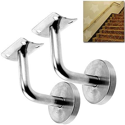 Attrayant Hanperal 2 Set Stainless Steel Handrail Brackets Solid Stair Wall Hand Rail  Bracket