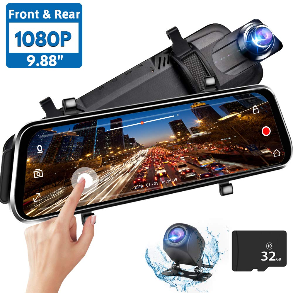 Directtyteam Mirror Dash Cam Backup Camera,1080P HD 9.88'' Full Touch Screen Car Rear View Mirror Camera Dual Lens Front Rear Dashcam Video Recorder Parking Monitor,Night Vision Waterproof Rearview