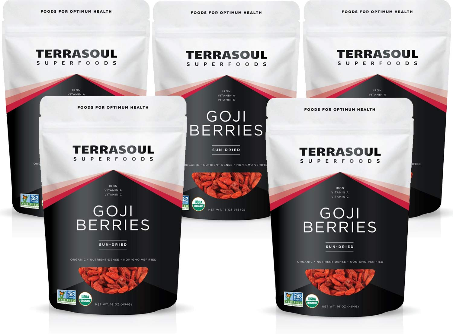 Terrasoul Superfoods Organic Goji Berries, 5 Lbs - Large Size | Chewy Texture | Premium Quality | Lab-Tested