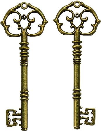 ornate bronze square metal key Fancy vintage Skeleton key Santa keys cabinet keys old keys as component for pendants or keychain