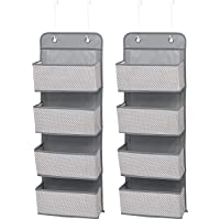 Delta Children 4 Pocket Over The Door Hanging Organizer, 2 Pack, Cool Grey
