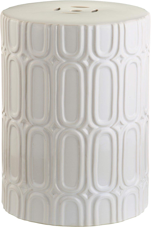 Safavieh Melody Glazed Ceramic Decorative Garden Stool Cream Home Kitchen