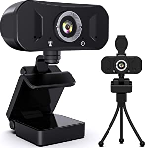 Webcam with Microphone, 1080P HD Web Computer Camera (30fps) with Privacy Cover and Tripod, Streaming USB Laptop Desktop PC Webcam with 110-Degree Widescreen for Video Calling Recording Conferencing