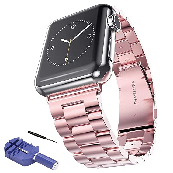 Sundo Compatible for Apple Watch Band 38mm 42mm Premium Stainless Steel  Metal Replacement Bands with Case for Apple Watch Series 1 Series 2 Series  3(H