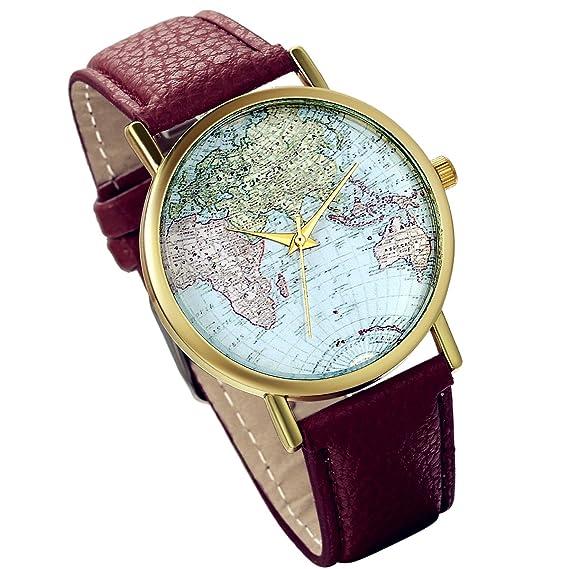 Lancardo Herren Weltkarte Zifferblatt Gold Ton Lunette Armbanduhr