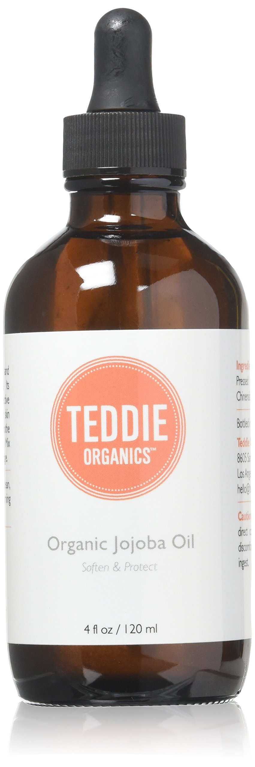 Teddie Organics Golden Jojoba Oil 100% Pure Organic Cold Pressed and Unrefined 4oz - Natural Moisturizer for Face Hair and Sensitive Skin, Carrier Oil for Essential Oils