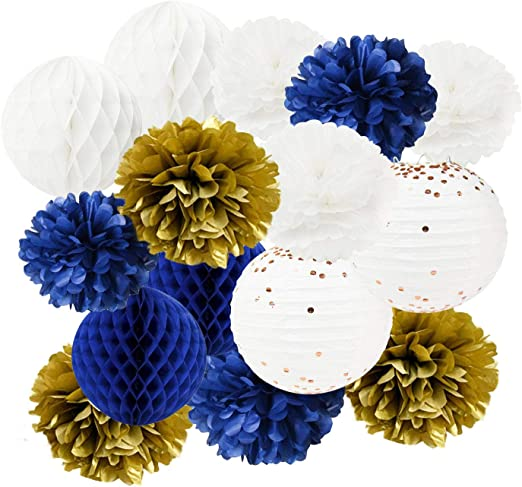 Furuix White Navy Yellow 10inch Tissue Paper Pom Pom 8inch Paper Lanterns Mixed Package for Navy Blue Party Wedding Paper Garland Bridal Shower Baby Shower Decoration Gold Confetti