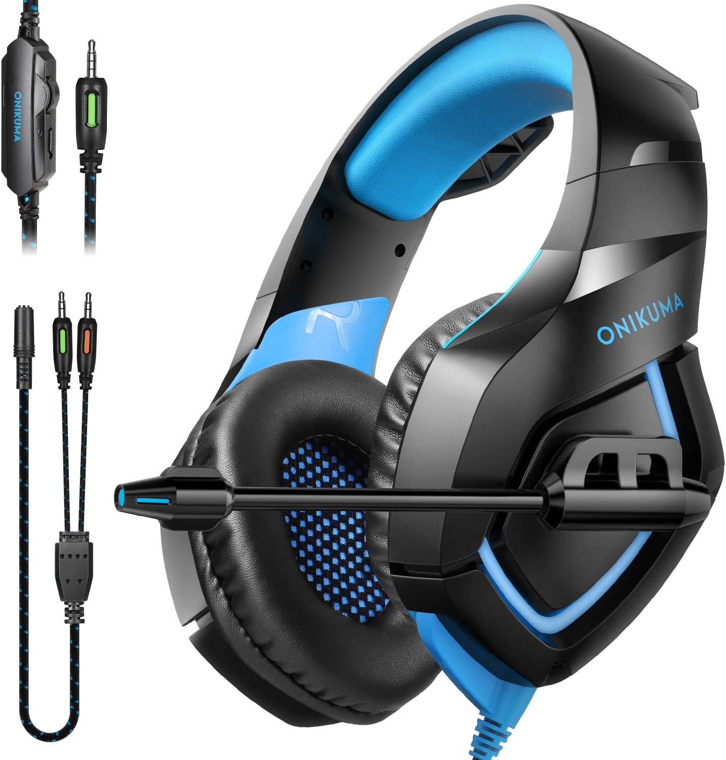 ONIKUMA Gaming Headphones - PS4 Headset Gaming Headset Xbox one Headset Gaming Headphones with Microphone, Soft Memory Earcup for PC, PS4, Mac,Xbox One(Adapter Not Included)