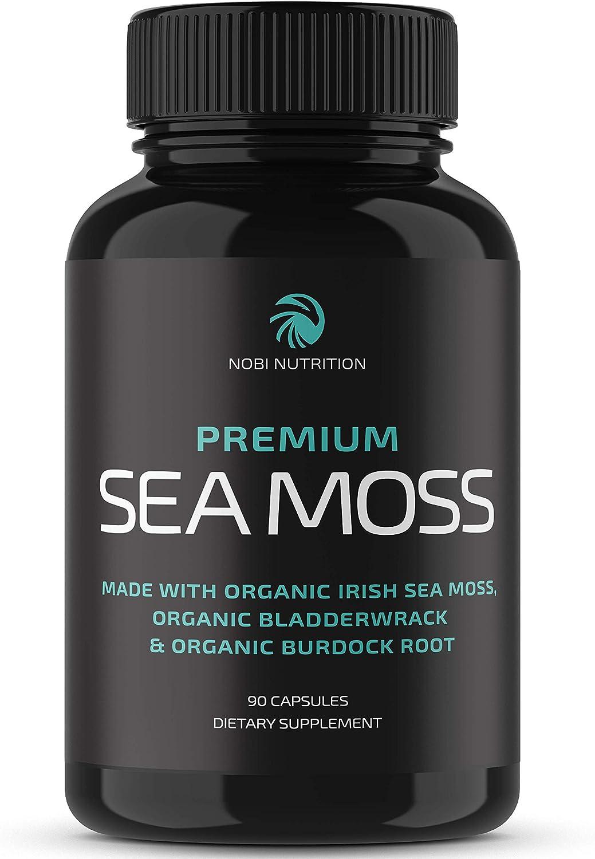 Nobi Nutrition - Organic Irish Sea Moss Capsules with Organic Burdock Root & Organic Bladderwrack Powder - Thyroid Support, Gut Health Support, Iodine Supplement & Potassium Supplement - 90 Capsules