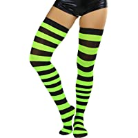 tobeinstyle Women's Wide Vertical Striped Thigh Hi Stockings