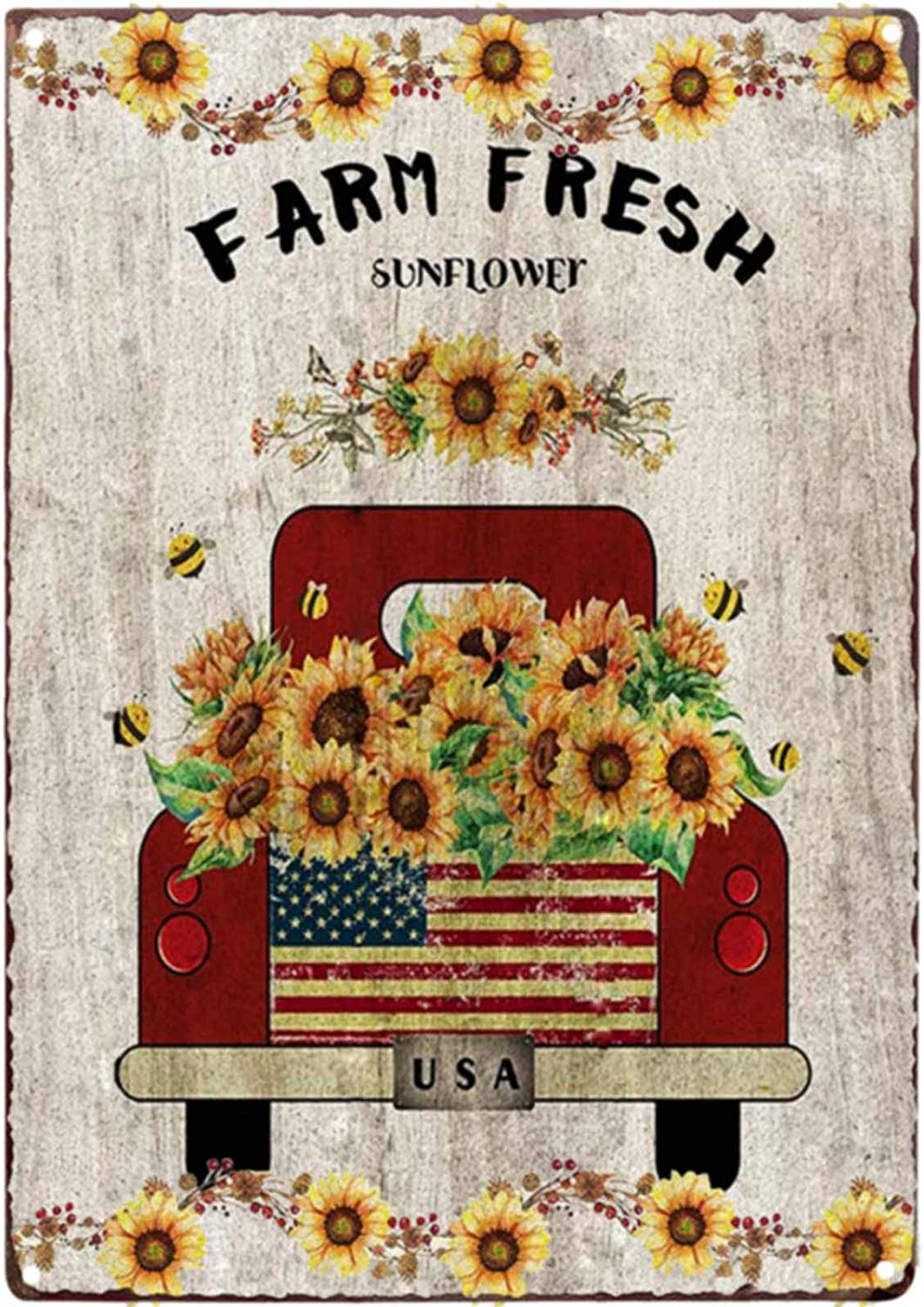 TISOSO Farm Fresh Sunflower Red Truck Vintage Tin Bar Sign Farmhouse Kitchen Wall Country Home Decor for Living Room Bedroom Decoration 8X12Inch