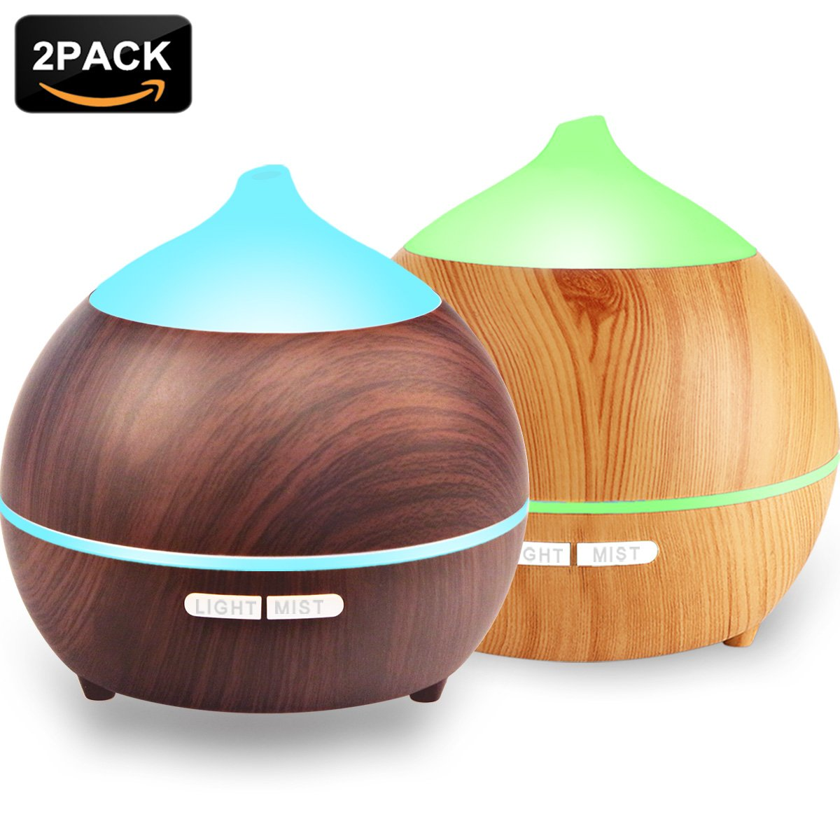 2PACK Essential Oil Diffuser, Iextreme 250ml Wood Grain diffuser With Auto Shut Off, 8 Colorful LED Light, Adjustable Mode Aroma Diffuser For Baby, Yoga, Spa, Home, Office
