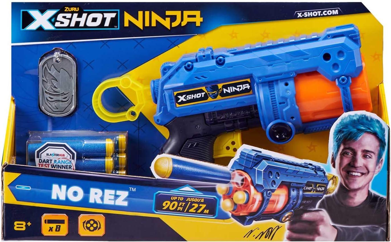 ZURU 36321 X-Shot Ninja No Rez Blaster with 8 Darts and Dog Tag Colourful