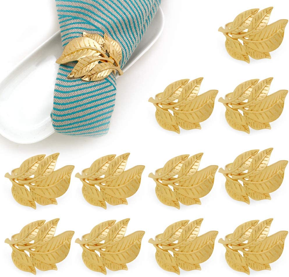Shebaking Gold Napkin Rings Set of 12, Fall Leaf Metal Napkin Ring Holder for Dinner Table Decor, Vintage Wedding Party Favor