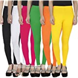 Pixie Women's Cotton Lycra Soft 4 Way Stretchable Ankle Length Leggings Combo (Multicolour, Free Size) - Pack of 6