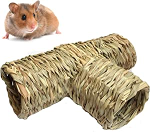 Nature's Hideaway Grass Tunnel Toy,Straw House with Open Entrance,Lightweight,Durable Home for Pocket Pets,Suitable for Rats,Syrian Hamster,Ferrets,Guinea Pig ,Chinchilla Hedgehog and Budgies