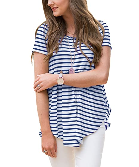 8df03fbc2cf6 Vemvan Womens Short Sleeve Striped Pleated Round Neck Irregular T Shirts  Casual Tunics Swing Tops at Amazon Women s Clothing store