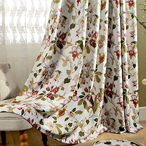 MYRU 2 Panels Set Flower Curtains Room Darkening Bedroom Drapes Bird Curtains for Living Room 2 Panels, 51 Width x 96 Length