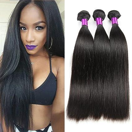 Armadura de cabello humano 3 paquetes de trama de cabello recto sedoso Sin  procesar Remy Extensiones a25e6c1018be