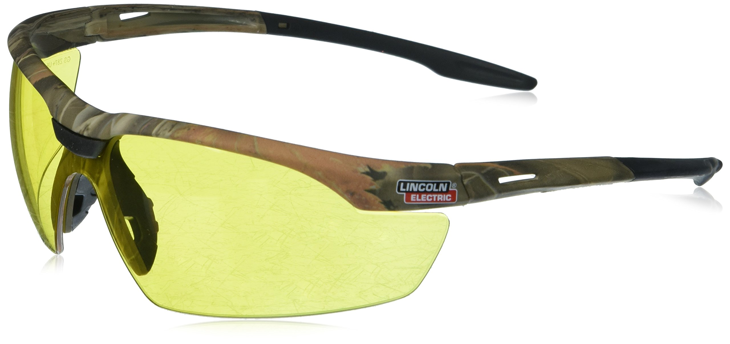LINCOLN ELECTRIC CO KH9710 Yellow Camo Safety Glasses with Amber Lenses,