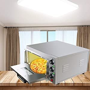 Fencia Electric Pizza Oven Countertop, Pizza Maker Toaster Oven Stainless Steel Thermometer Single Pizza/Bread/Cake Toaster Oven 2000W for Restaurant Home Commercial Pizza Snack Bake - US Shipping, Fast Delivery