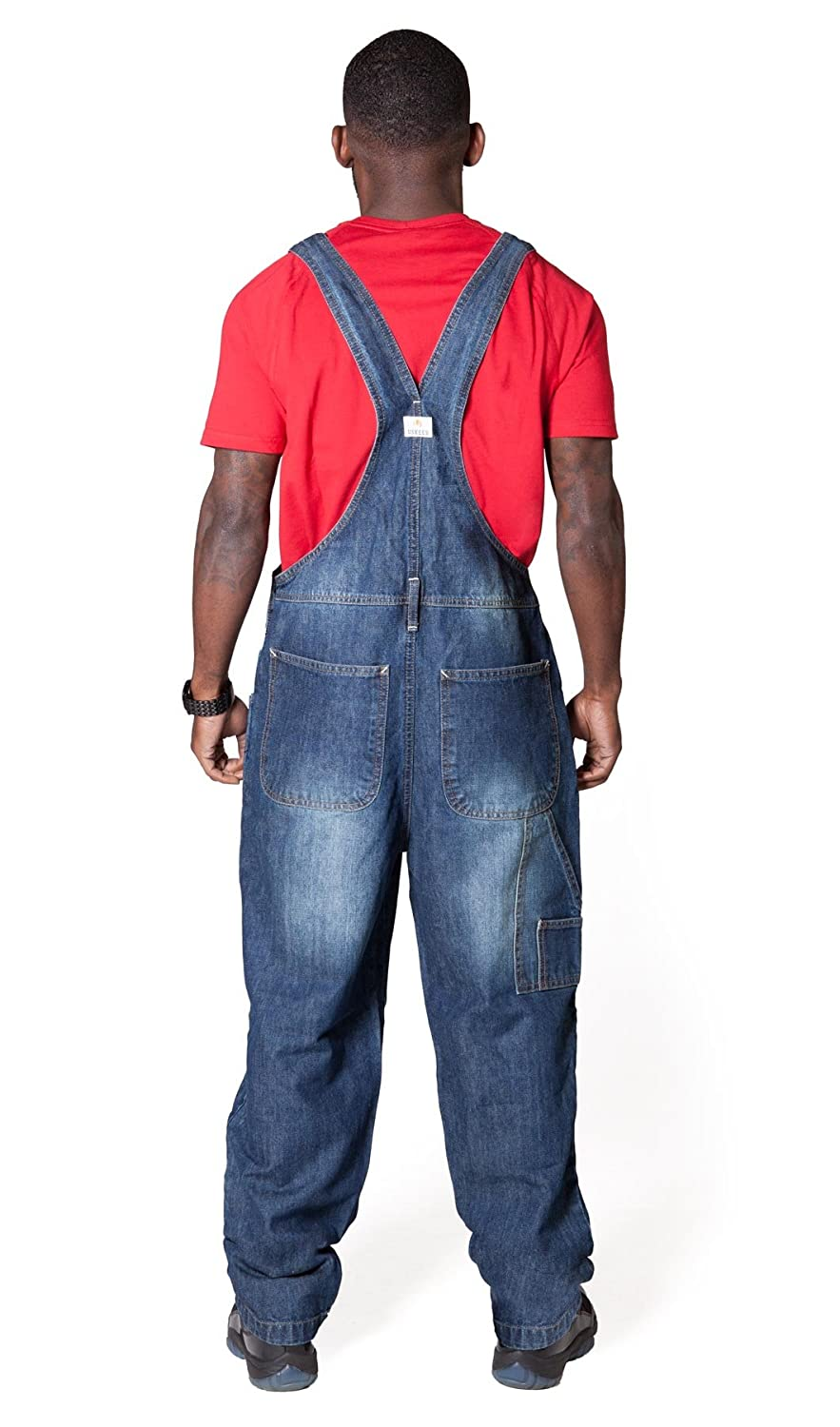 87ac316199f9 Uskees Stevie Loose Fit Mens Dungarees - Dark Wash Blue Denim Bib Overalls  STEVIEDW-S-W32  Amazon.co.uk  Clothing