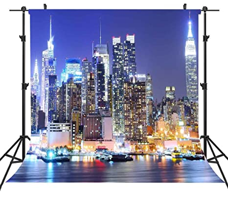 e5a4b8939 6X6FT Manhattan Backdrops New York City Backdrop NYC United States Urban  City Light Background Night Scene