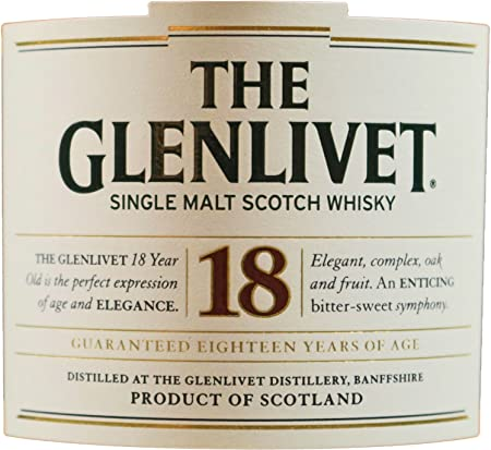The Glenlivet Scotch Whisky, Single Malt, 18 años - vol. 43% - 70cl