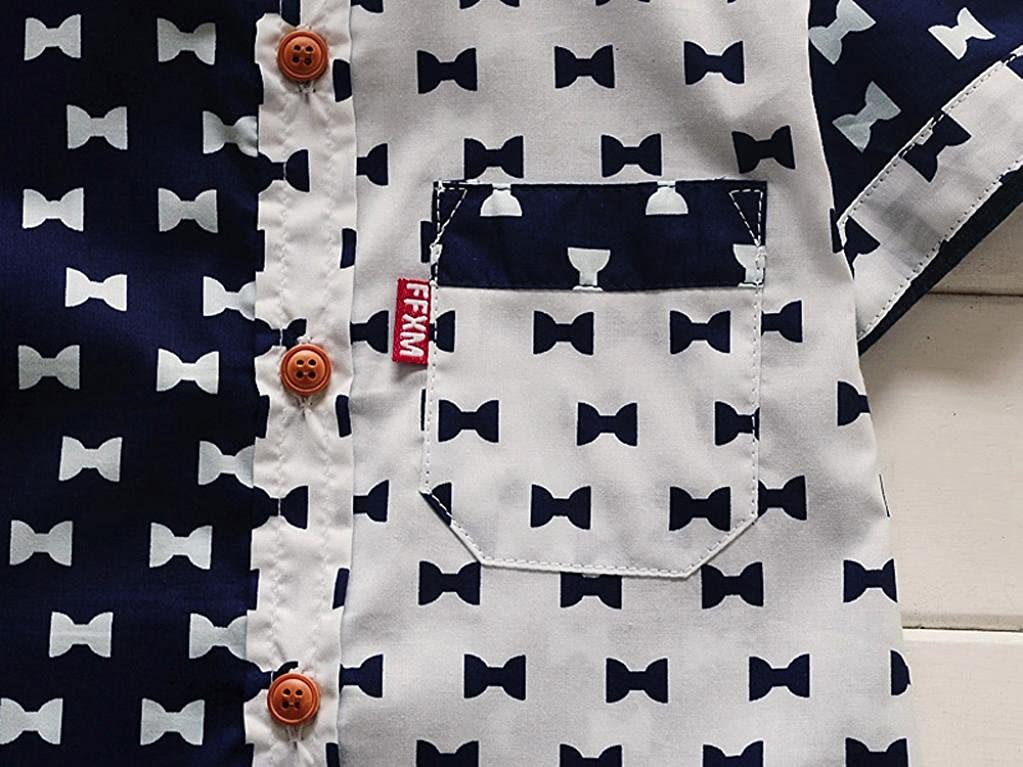 DIGOOD Toddler Baby Boys Bowknots Print Pocket Shirt Tops,For 0-24 Months,Kids Fashion Blouse Clothes