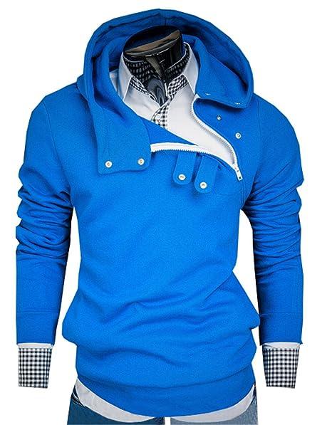 Sudaderas con Capucha Para Hombres Personalizada Color Sólid Cremallera Mens Simple Casual Hooded Sweatshirts (Azul
