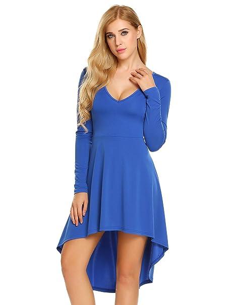 8fce9a5a8fc Zeela Damen Vokuhila Kleid Sommerkleid Jerseykleider Asymmetrisch Langarm V  Ausschnitt Rückenfrei Minikleid Freizeitkleid  Amazon.de  Bekleidung