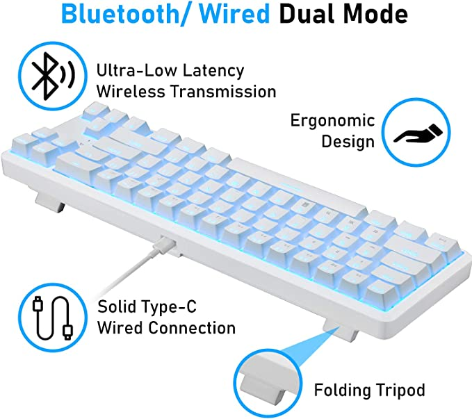 AK68 Recargable con cable / inalámbrico Bluetooth de modo dual 60% Teclado mecánico para juegos Compacto 68 teclas Tipo C Teclas anti-fantasma con ...