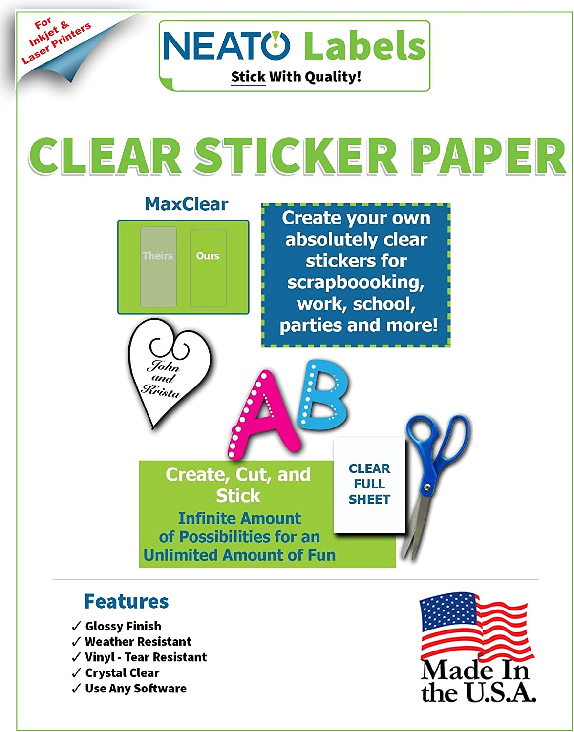 Clear sticker paper for ink jet and laser jet printers